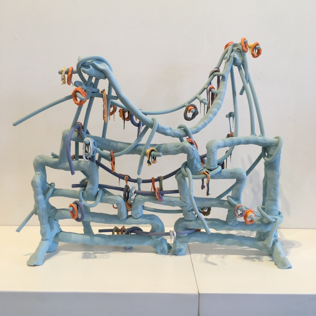 Sculpture / three dimensional drawing by Lauren Mabry, Line Work Stand (Blue); stoneware and glaze; photo by Sara Farrell Okamura.