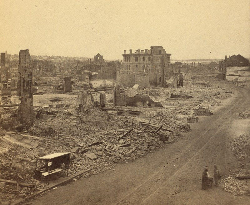 Photograph: Looking northeast along Middle St., showing portion of Temple and Exchange streets; photographed by J.P. Soule between July 12–14, 1866, photo courtesy of the Robert N. Dennis Collection, New York Public Library.