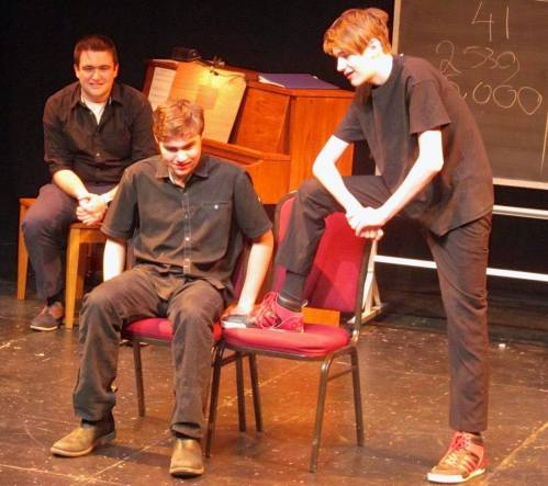 """Berkshire Waldorf School students perform a skit at the 2019 """"MORE ROOM for IMPROVment,"""" from left, Noah Meyerowitz, Evan Silverstein, Toby Keenan; photo courtesy Berkshire Waldorf School."""