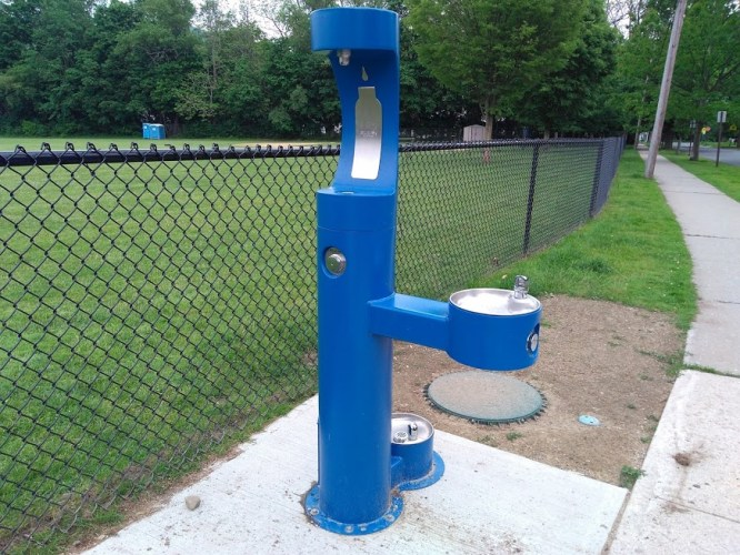 Photograph: Public water fountain. Newly installed public water fountains in high traffic/athletic areas grant near luxury-level access to the most basic of human needs; photo by Sheila Velazquez.