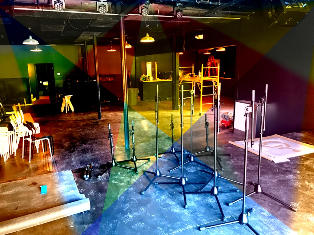 The performance stage at HiLo, still under construction just days before the soft opening; photo and effects by Jason Velázquez.