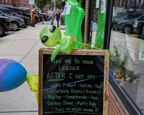 "Lest you think Exeter is all crusty historical stuff, every Labor Day Weekend, the town hosts a UFO Festival, to commemorate a mysterious incident. In 1965, a young man was hitching a ride home when he noticed flashing red lights that seemed to hover over a farm, then move toward him. The same evening, a woman was found sitting in her car along Route 108, visibly shaken from having been followed for miles by a ""huge object with flashing red lights."" Two police officers later testified to having seen the same unidentified object. Virtually all shops and restaurants in the Downtown Area Commercial District get in on the alien-invasion fun."