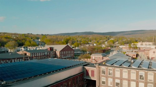 Aerial view of the MASS MoCA campus; still from Museum Town; image courtesy the filmmaker.