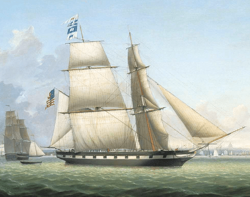 Painting: The Brig Antelope in Boston Harbor, by Fitz Henry Lane, 1863.
