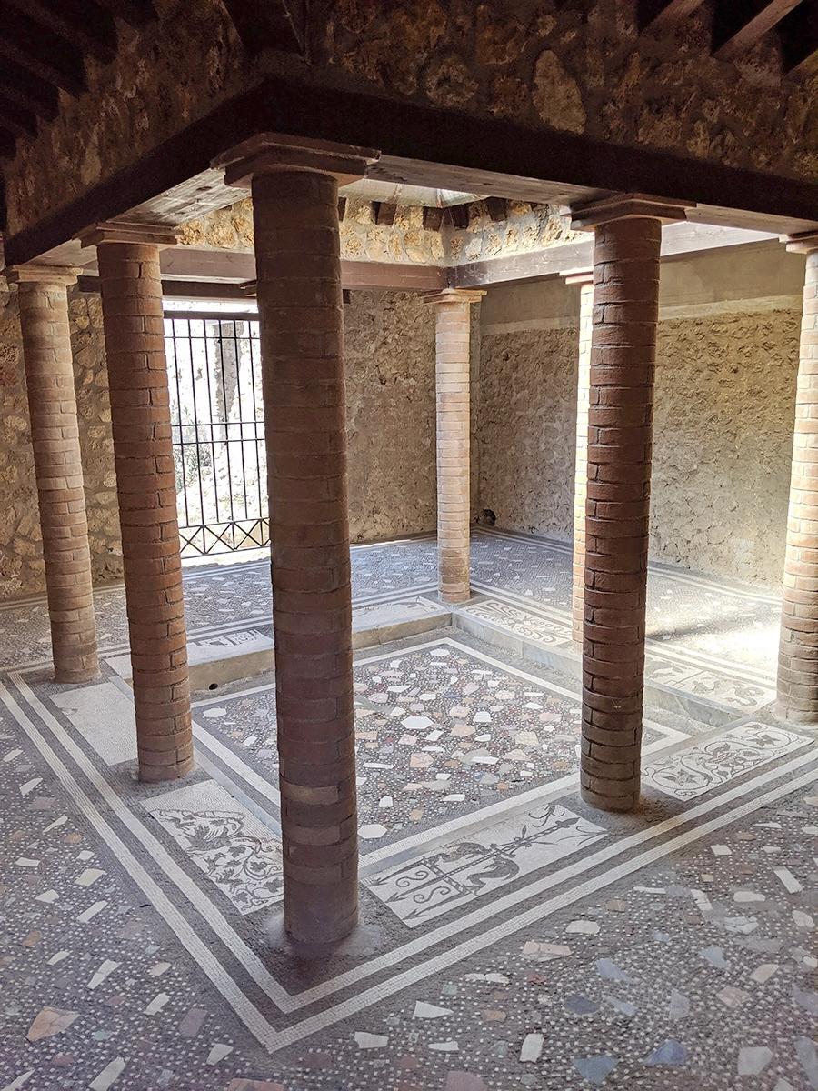 Named for picture of the Greek playwright Menander that was found in its portico, the House of Menander belonged to a powerful family. It's richly decorated, including frescoes of the Iliad and the Odyssey and this stunningly well-preserved mosaic floor in the atrium.