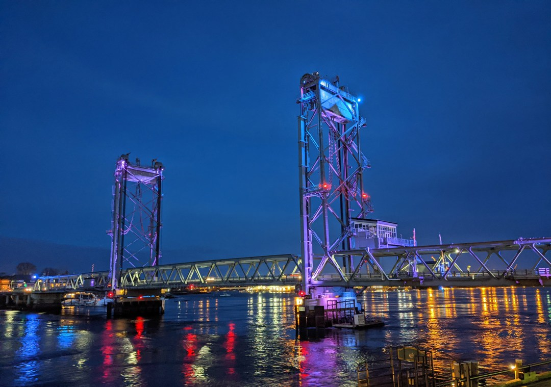 The World War I Memorial Bridge is one of three that span the Piscataqua River into Badger's Island and Kittery, Maine. At night, it puts on a spectacular light show that can be seen from multiple spots in the city.