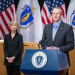 Governor Charlie Baker, Lt. Governor Karyn Polito (not pictured) and Secretary of Health and Human Services Marylou Sudders (left) join leaders from Partners in Health to announce the creation of the COVID-19 Community Tracing Collaborative at a State House press conference April 3; photo by Joshua Qualls
