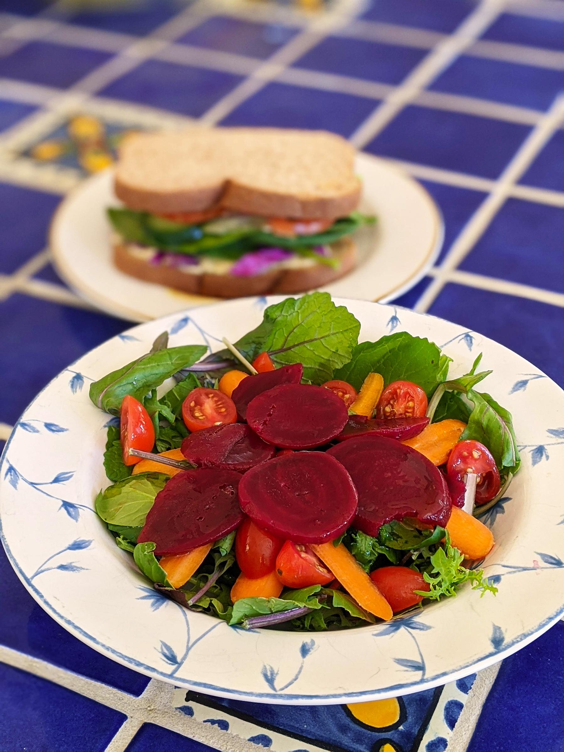 Fresh mesclun salad with lemon-maple vinaigrette; photo by Robin Catalano.
