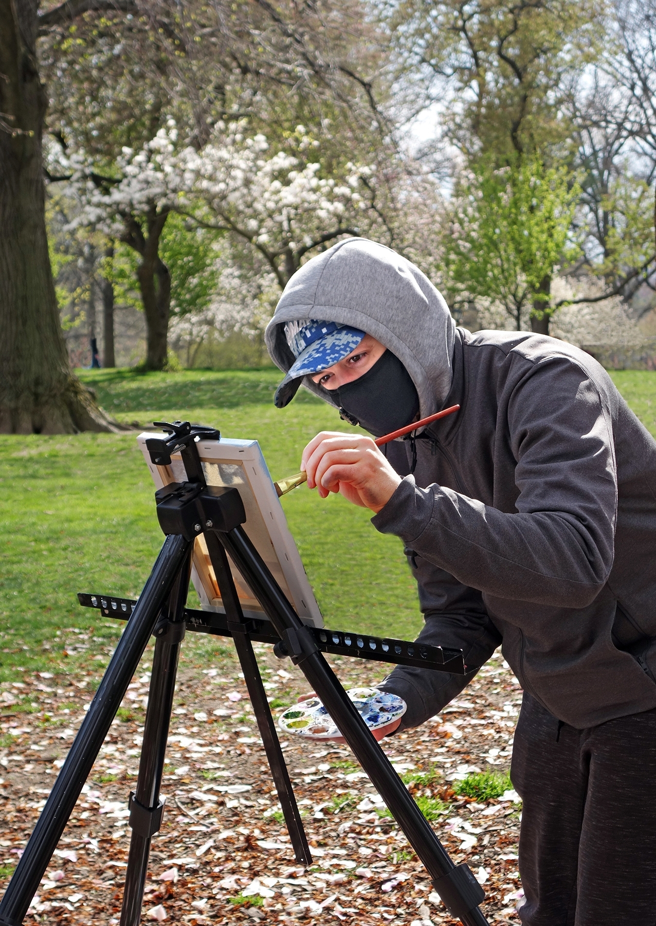 An artist in Central Park, New York, adheres to citywide face-covering policy even in the middle of a traditionally solitary endeavor; photo by Jane Feldman.