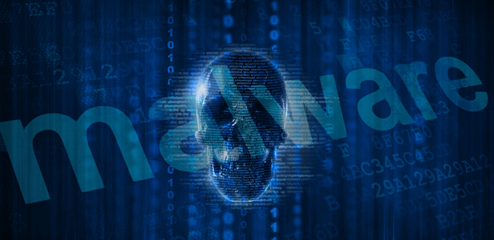 image of human skull against a background of narrow columns of zeros and ones, with the word. #malware, overlaid