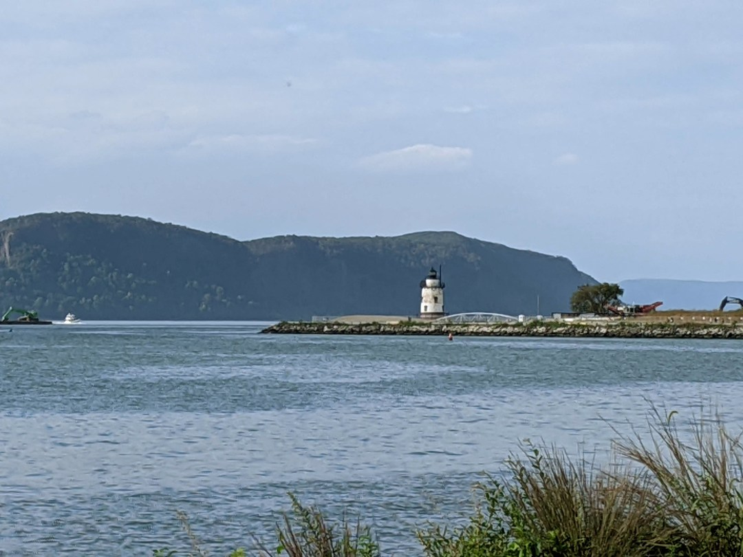 Photo of the Sleepy Hollow lighthouse as seen in the distance from Pierson Park.