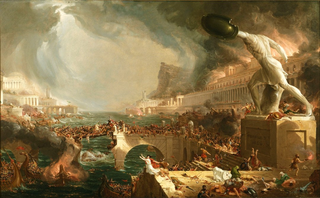 Photo of painting - The Course of Empire — Destruction, by Thomas Cole; (American, Lancashire 1801–1848 Catskill, New York); 1836; Oil on canvas; 33 1/4 × 63 1/4 in.