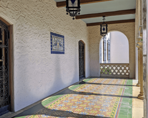 Exterior photo of a porch at Witte Museum in San Antonio, showing the colored tile floor