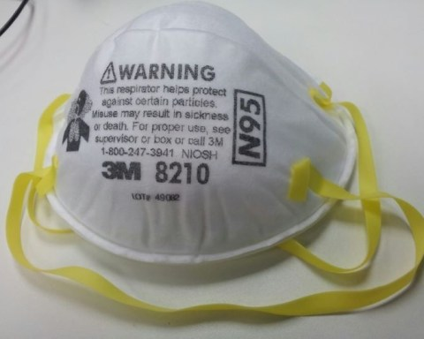 Photo of A NIOSH N95 particulate respirator by 3M that can filters at least 95% of airborne particles.
