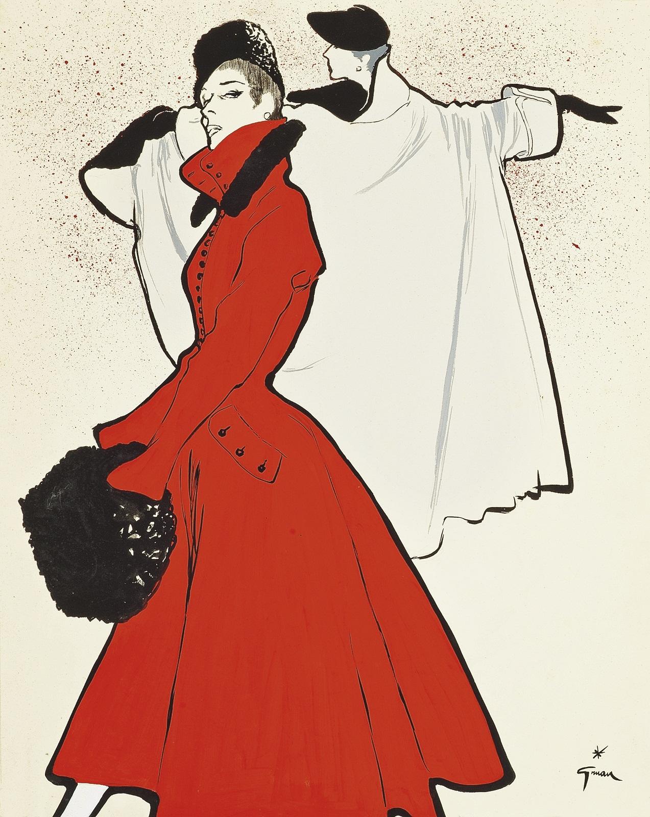 ren gruau the red coat 1950. Black Bedroom Furniture Sets. Home Design Ideas
