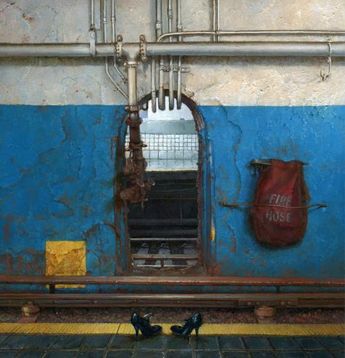 """Dina Brodsky –  Subway Ghosts (2014) oil on mylar, 6.5x7"""""""