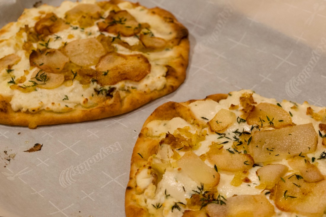 Pear & Goat Cheese Naan Pizza