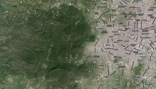 magen satelital del Bosque La Primavera y la Zona Metropolitana de Guadalajara.