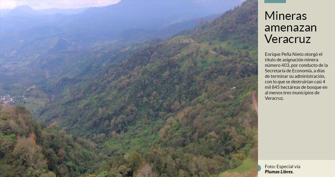 Destruirán mas de 4 mil 845 hectáreas de bosque con la implementación de 3 minas que dejó aprobadas EPN para Veracruz