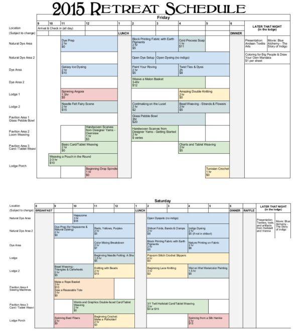 2015 Retreat Class Schedule