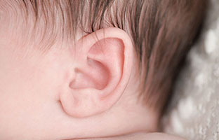 A close-up shot of a three week old, newborn baby's ear.