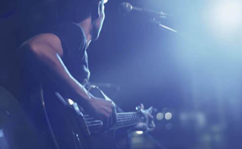 Rock guitarist blue