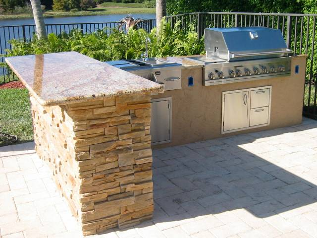 custom outdoor kitchen in florida with granite — gas grills, parts