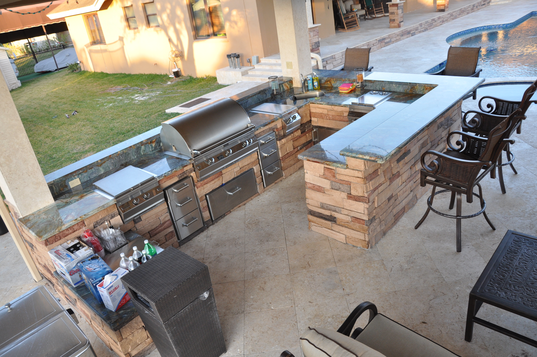 Firemagic Built In BBQ and Gas Fire Pit Custom Built with ... on Built In Grill Backyard id=76522