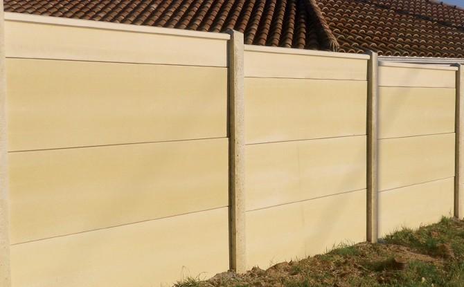 cloture mur plein en plaques de beton