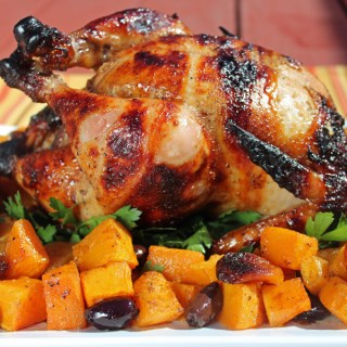 Honey-Cumin Rotisserie Chicken with Butternut Squash, Apricots and Olives