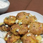 Grilled Smashed Potatoes with Blue Cheese and Chive Sauce