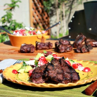 Lamb Chops Marinated in Red Wine with Garden Greek Salad