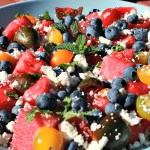 Grilled Watermelon, Heirloom Tomato and Blueberry Salad
