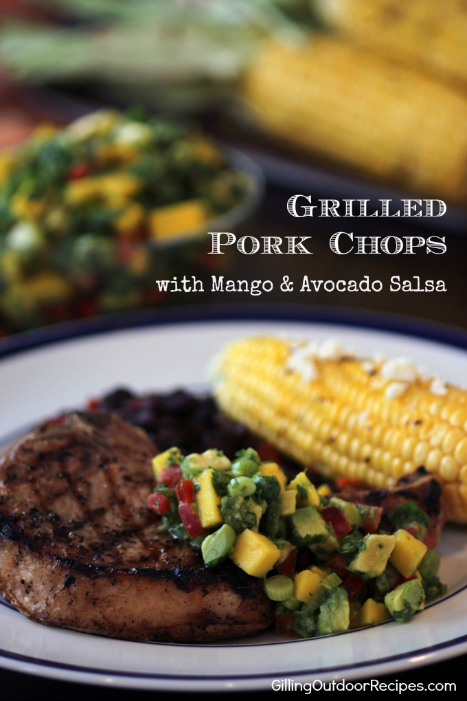 Pork Chops with Mango-Avo Salsa v