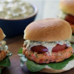Salmon Sliders with Green Olive Aïoli