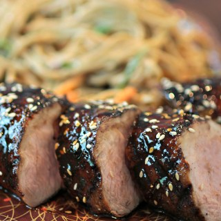 Asian BBQ Pork Tenderloin with Cold Sesame Noodles