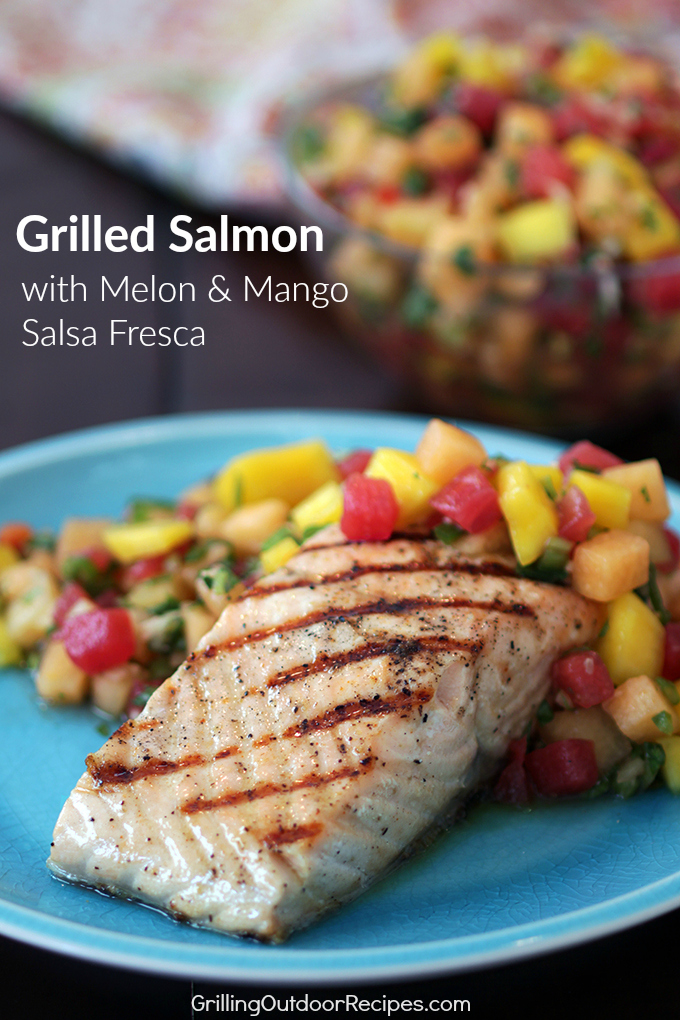 Grilled Salmon with Melon Salsa - v