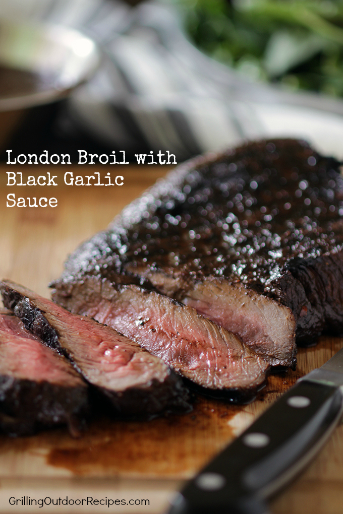 London Broil with Black Garlic Sauce - v