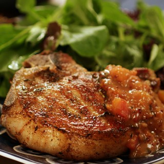 Pork Chops with Peach Mostarda