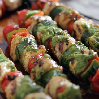 Mediterranean Chicken Kebabs with Salsa Verde
