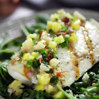 Grilled Halibut with Macadamia-Pineapple Salsa