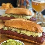 Grilled Bratwurst and Sauerkraut Sandwich