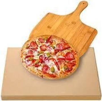 """AUGOSTA Pizza Stone for Oven and Grill, Free Wooden Pizza Peel Paddle, Durable and Safe Baking Stone for Grill, Thermal Shock Resistant Cooking Stone, 15 """" x 12 """" Inch"""