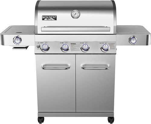 Monument Grills 4-Burner Stainless Gas Grill with Rotisserie Burner