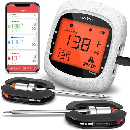 NutriChef Smart Bluetooth BBQ Grill Thermometer - Upgraded Stainless Dual Probes Safe to Leave in Outdoor Barbecue Meat Smoker - Wireless Remote Alert iOS...