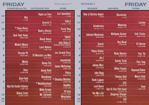Coachella 2013 Set Times – Weekend Two - Friday