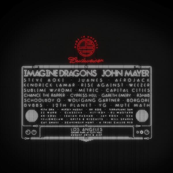 Budweiser Made In America Los Angeles lineup poster