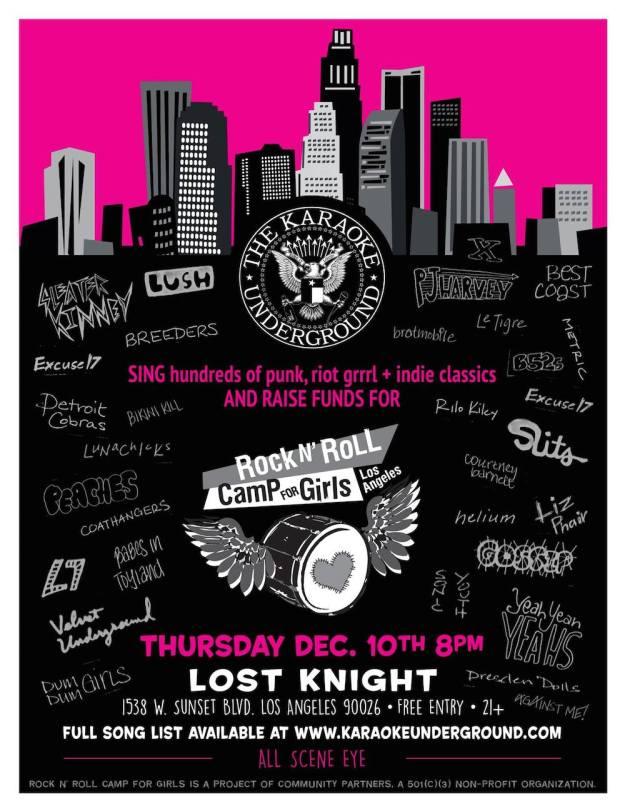 Rock n' Roll Camp for Girls Karaoke Underground Flyer