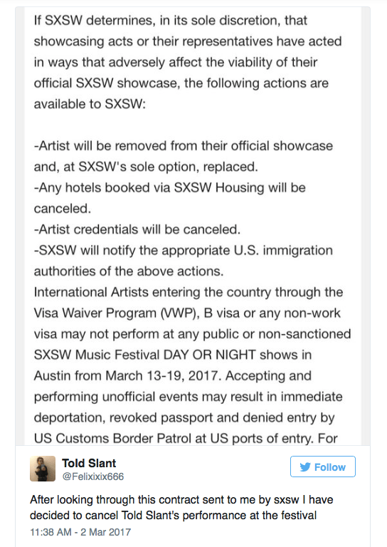 SXSW goes trump deportations