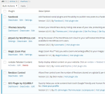 An example of installed WordPress plugins.